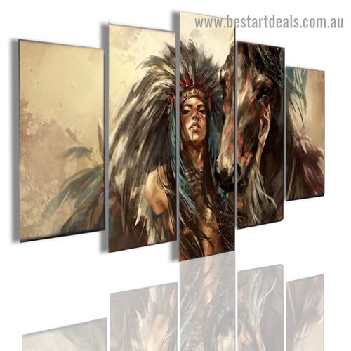 Women Tribe Warrior Figure Animal Modern Artwork Portrait Canvas Print for Room Wall Adornment