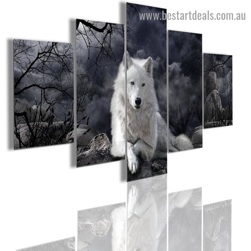 White Wolf Animal Modern Artwork Picture Canvas Print for Room Wall Adornment