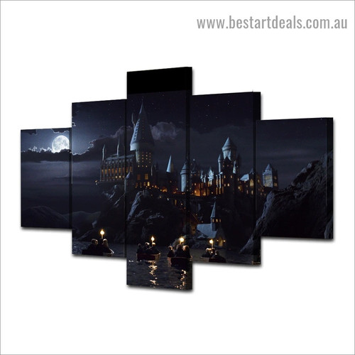 Dark Night Castle Architecture Figure Vintage Artwork Photo Canvas Print for Room Wall Garniture