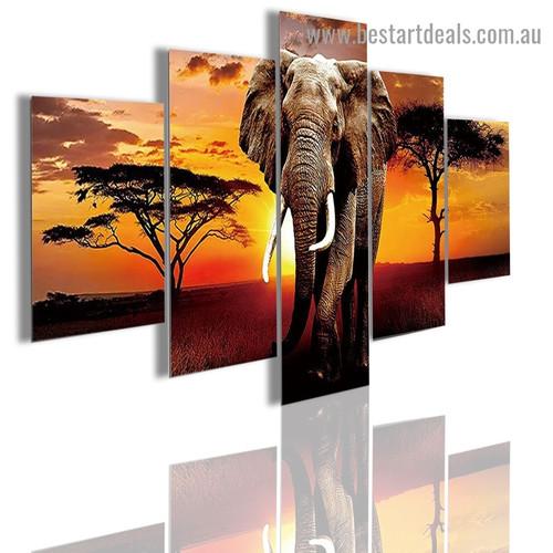 Sunset Elephant Animal Nature Modern Artwork Photo Canvas Print for Room Wall Decoration