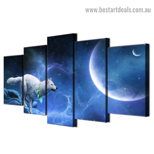 Magical White Wolf Animal Modern Artwork Picture Canvas Print for Room Wall Adornment