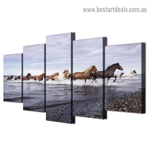 Horses Running Animal Modern Artwork Picture Canvas Print for Room Wall Decoration