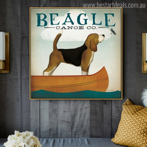 Beagle Animal Contemporary Typography Painting Canvas Print for Room Wall Finery