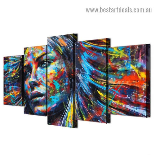 Rainbow Style Girl Abstract Graffiti Artwork Portrait Canvas Print for Room Wall Ornament
