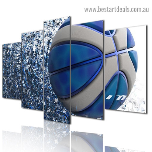 Blue Sport Basketball Abstract Modern Artwork Picture Canvas Print for Room Wall Adornment