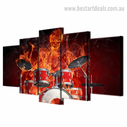 Fire Drums Music Modern Smudge Painting Image Canvas Print