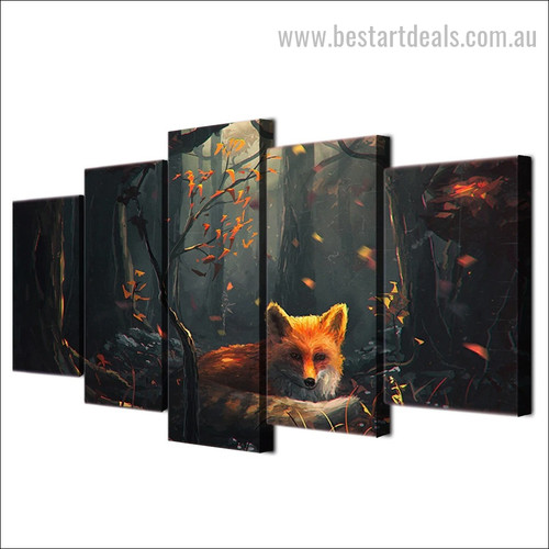 Fantasy Fox Animal Nature Modern Framed Artwork Image Canvas Print