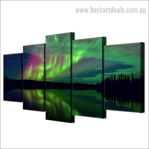 Aurora Lake Shadow Nature Landscape Modern Framed Portraiture Photo Canvas Print