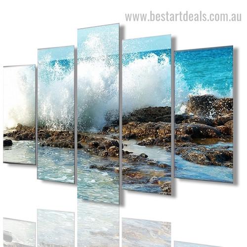 Seashore Nature Seascape Modern Framed Effigy Pic Canvas Print