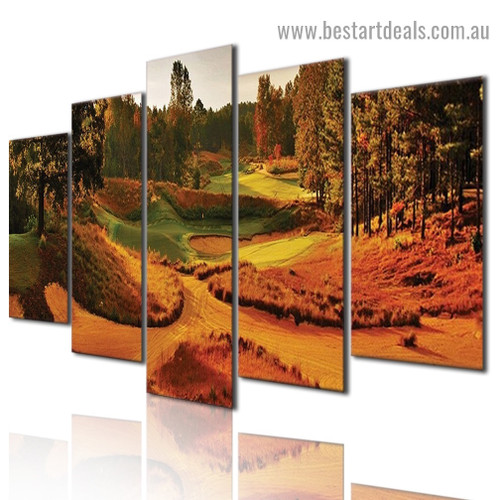 Autumn Golf Course Botanical Landscape Modern Artwork Photo Canvas Print For Room Wall Ornament