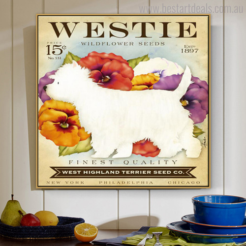 Westie Animal Botanical Modern Typography Painting Canvas Print for Wall Molding