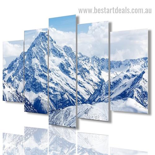 Snowy Mountains Nature Landscape Modern Framed Artwork Image Canvas Print
