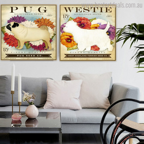 Pug Westie Animal Botanical Modern Typography Painting Canvas Print for Wall Molding