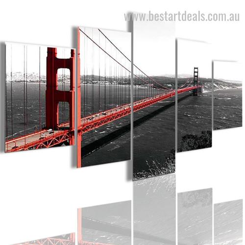 Gate Bridge Landscape Modern Framed Painting Image Canvas Print