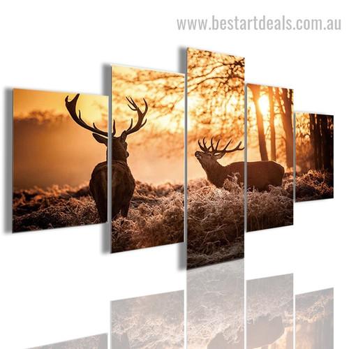 Sunset Deers Animal Nature Landscape Modern Framed Effigy Photo Canvas Print