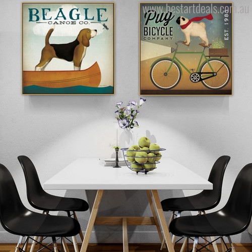 Pug Beagle Animal Botanical Modern Typography Painting Canvas Print for Dining Room Wall Decoration