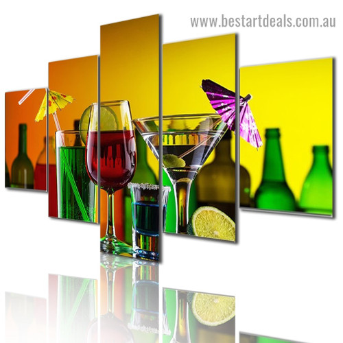 Cocktail Wine Cabinet Food and Beverage Modern Artwork Pic Canvas Print for Room Wall Adornment