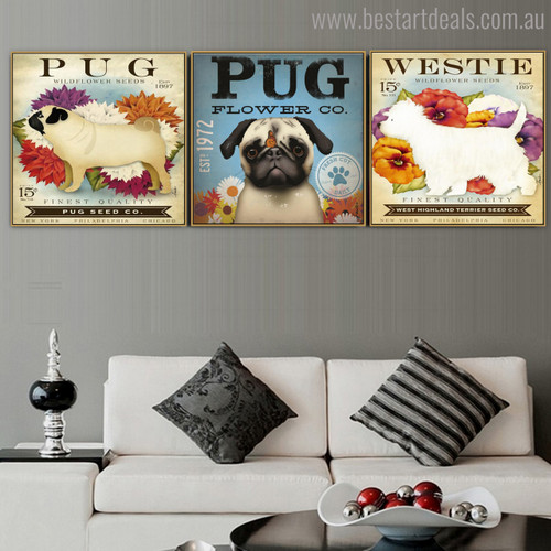 Pug and Westie Animal Botanical Modern Typography Painting Canvas Print for Living Room Wall Decor