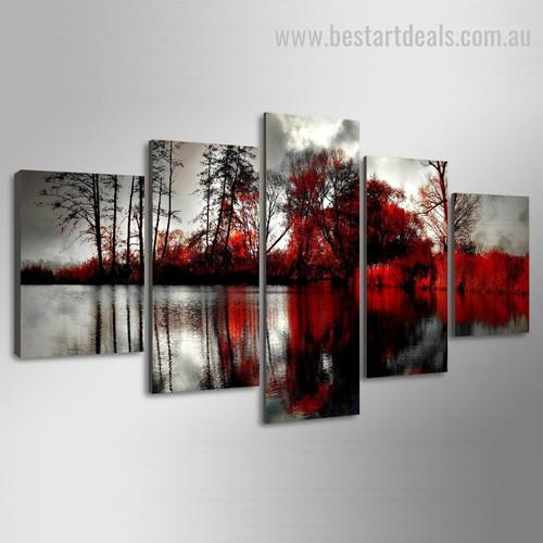 Acer Rubrum Botanical Nature Landscape Modern Framed Effigy Image Canvas Print
