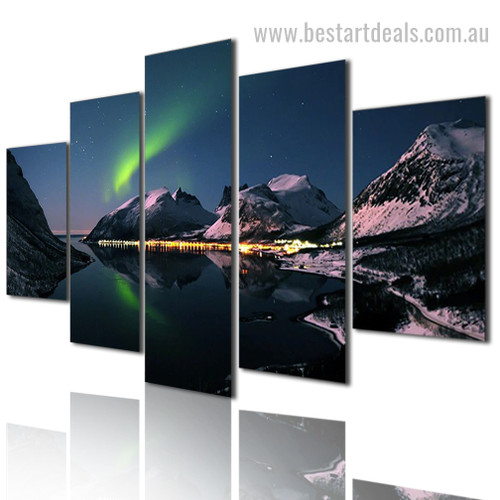Mountain Loch Ignis Nature Landscape Modern Framed Smudge Pic Canvas Print