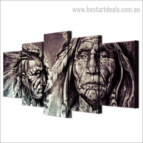 Indian Warrior Abstract Vintage Framed Painting Pic Canvas Print