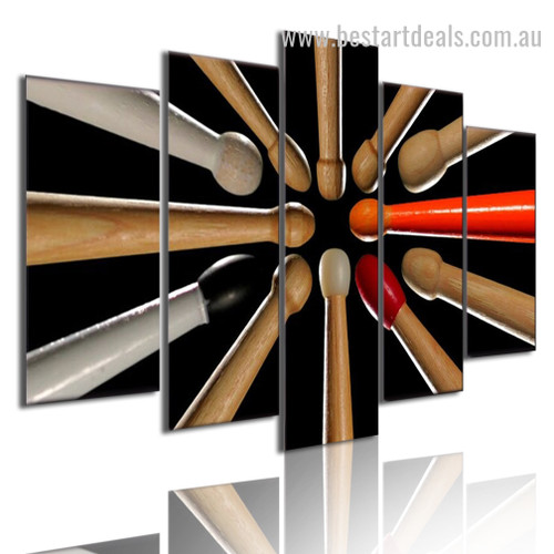Music Drum Sticks Abstract Modern Framed Artwork Photo Canvas Print