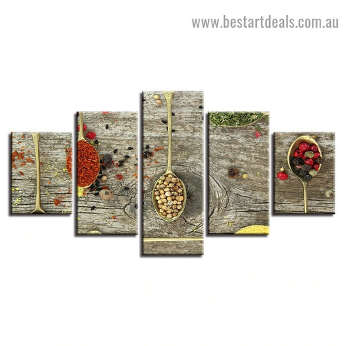 Spices Spoon Food and Beverage Modern Artwork Portrait Canvas Print for Room Wall Adornment
