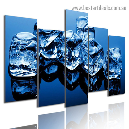 Ice Cube Food and Beverage Modern Artwork Portrait Canvas Print for Room Wall Ornament