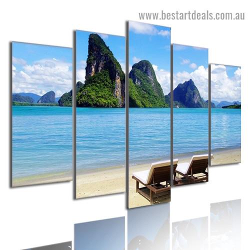Tropical Sea Coast Nature Landscape Modern Artwork Picture Canvas Print for Room Wall Adornment