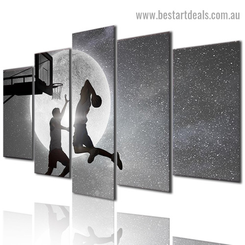 Basketball Players Abstract Figure Modern Artwork Photo Canvas Print for Room Wall Garniture