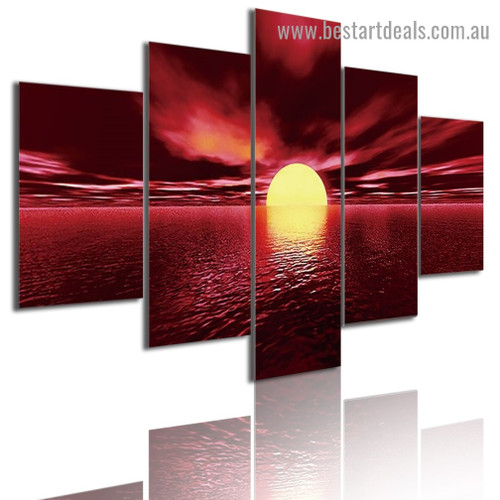 Glowing Lake Sunset Nature Landscape Modern Artwork Photo Canvas Print for Room Wall Ornament