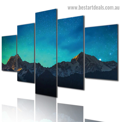 Starry Sky Mountain Nature Landscape Modern Artwork Image Canvas Print for Room Wall Garniture
