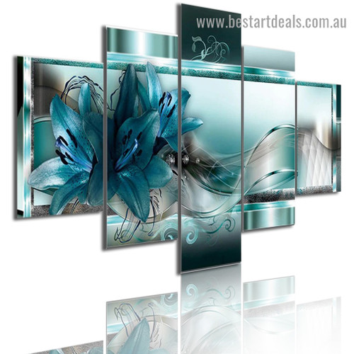 Blue Lily Flowers Abstract Botanical Modern Artwork Photo Canvas Print for Room Wall Adornment