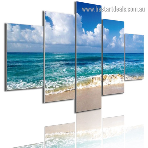 Sea Blue Sky Nature Landscape Modern Artwork Photo Canvas Print for Room Wall Garniture