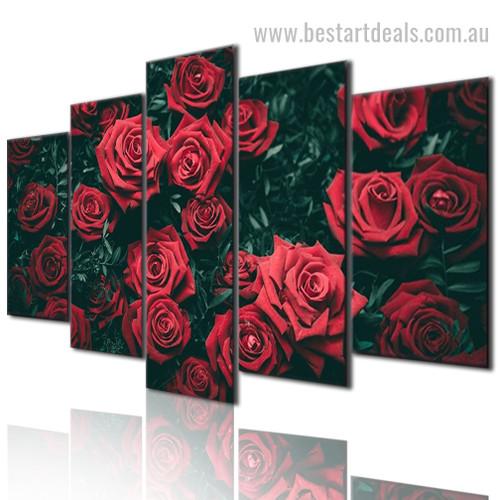 Red Flora Botanical Modern Framed Smudge Photo Canvas Print
