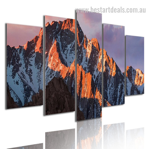 Snow Mountain Sunset Nature Landscape Modern Framed Painting Image Canvas Print