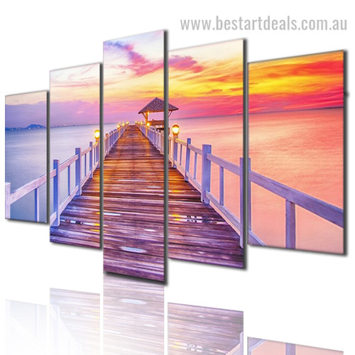 Sunset Seascape Nature Landscape Modern Framed Painting Image Canvas Print for Room Wall Decoration
