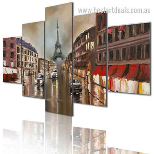 Rain In Paris Cityscape Modern Framed Painting Photo Canvas Print