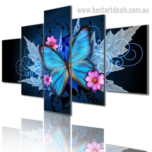 Butterfly Flower Botanical Modern Framed Painting Image Canvas Print