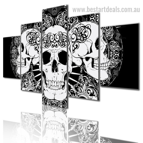 Abstract Skulls Ilustration Modern Framed Effigy Pic Canvas Print