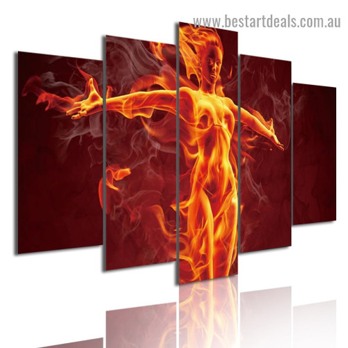 Burning Flame Girl Figure Modern Artwork Picture Canvas Print for Room Wall Adornment