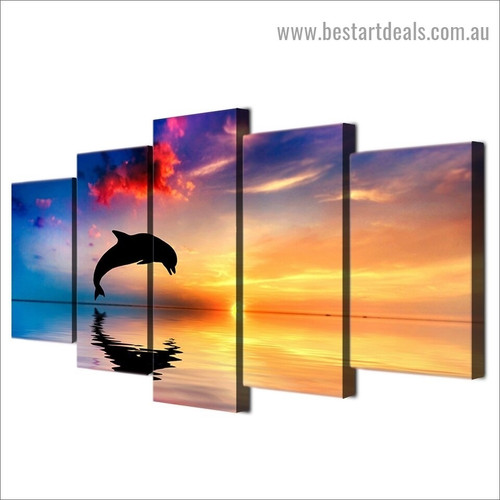 Colorful Ocean Sunset Animal Seascape Nature Modern Artwork Picture Canvas Print for Room Wall Ornament
