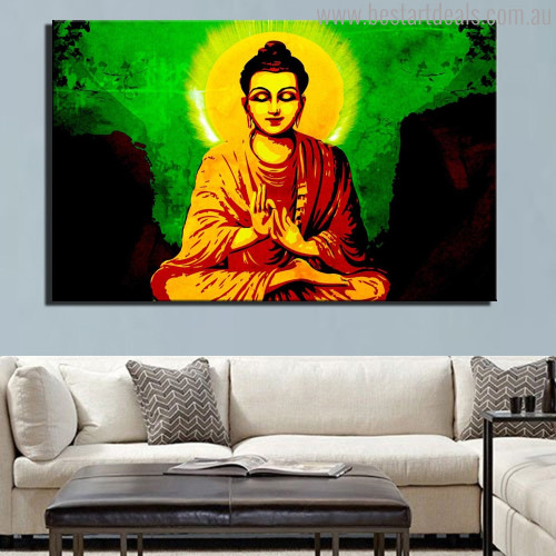Mahatma Buddha Religious Modern Painting Print for Lounge Room Wall Flourish