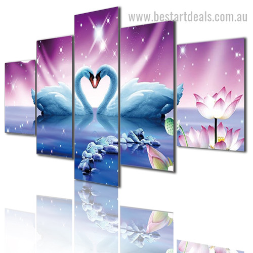 Swans Bird Nature Landscape Modern Framed Painting Picture Canvas Print
