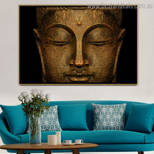 Buddha Face Moral Modern Painting Portrait Canvas Print for Living Room Wall Molding