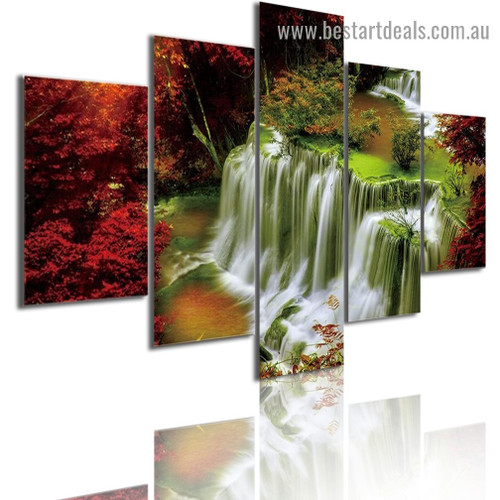 Maple Leaf Waterfall Seascape Modern Artwork Picture Canvas Print for Room Wall Ornament