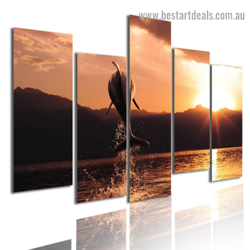 Jumping Dolphin Seascape Animal Nature Modern Artwork Image Canvas Print for Room Wall Garniture