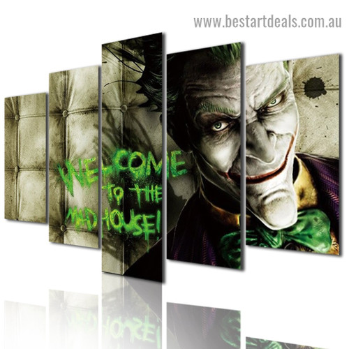 Joker Mad House Figure Typography Modern Artwork Picture Canvas Print for Room Wall Ornament