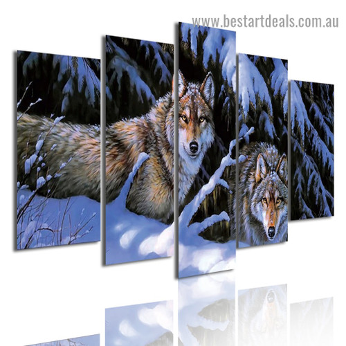 Snow Mountain Wolves Animal Landscape Modern Artwork Pic Canvas Print for Room Wall Ornament