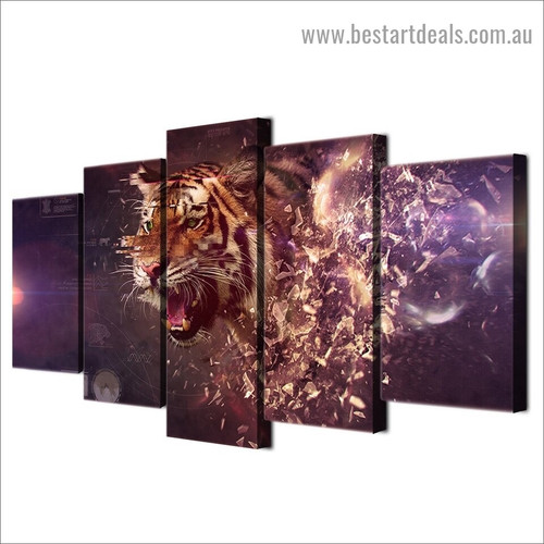 Apex Predator Tiger Animal Modern Artwork Picture Canvas Print for Room Wall Adornment